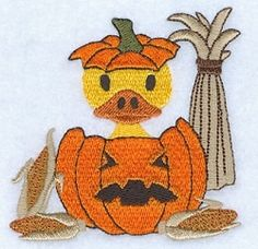Duck in Pumpkin - 4x4   Halloween   Machine Embroidery Designs   SWAKembroidery.com Starbird Stock Designs