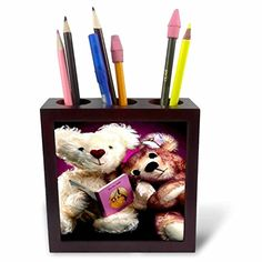 Teddy Bears - Teddy Bear reading - 5 inch tile pen holder…
