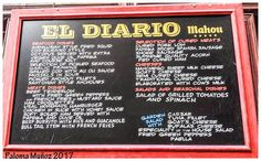 """pizarra de raciones, bebidas y refrescos de la cervecería """"EL Diario"""". Slate of rations, drinks and soft drinks of the brewery """"El Diario"""""""