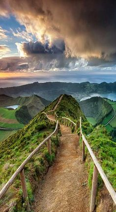 Trail at Sete Cidades Crater on Sao Miguel island, in the Azores--- Incredibly beautiful, although I would be too scared to ever walk this.