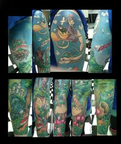 this is amazing!! -- Hayao Miyazaki/Studio Ghibli sleeve, started October 2012 and finished at the end of January 2013 I wish my arm was bigger so we could have fit more characters! Done by Laura at A-1 Tattoo Co. in Oakdale, MN. She is amazing :)