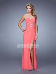 Elegant Sweetheart High Slit Ruched Bodice Chiffon Prom Dress PD11996