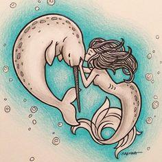 A mermaid for . Whale Tattoos, Mermaid Tattoos, Body Art Tattoos, Unicorns And Mermaids, Mermaids And Mermen, Fantasy Mermaids, Narwhal Drawing, Mermaid Art, Amor