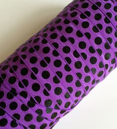 "Black Polka Dots on Purple 5/8"" Fold Over Elastic - 1, 3 or 5 Yards on Etsy, $1.25"