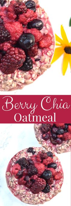 Berry Chia Oatmeal is super easy to make and is loaded with 5 different berries, protein, fiber and antioxidants to start your day off right! #berries #oats #oatmeal #chiaseeds #healthy #mealprep #cleaneating #glutenfree #vegan Healthy Cookie Recipes, Peanut Butter Recipes, Healthy Cookies, Clean Eating Dinner, Clean Eating Recipes, High Protein Dinner, Healthy Baked Chicken, Hamburger Soup, Superfood Powder