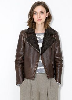 Shearling-lined leather jacket - Jackets for Women | OUTLET