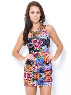 #Floral One Shoulder #Dress