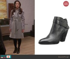Joan's black ankle boots on Elementary. Outfit Details: http://wornontv.net/44861/ #Elementary