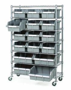 Seville Classics SHE16510 Commercial 7-Shelf Bin Rack System by Seville Classics. $169.99. Set of 3-Inch Grey Wheels (4 pcs, two locking). 16 Durable Sliding Polypropylene (PP) Bins (12 Large, 4 XLarge). 4 Bin Dividers. Dimensions: 14-Inch D by 36-Inch W by 56-Inch H. NSF Certified. From the Manufacturer                Get organized by sorting your things in our patented 7 Shelf Commercial Bin Rack System. The polypropylene (PP) bins slide out easily and lock into p...