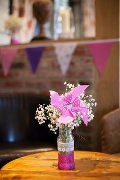 pinwheel wedding bottle flowers