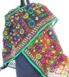 Phulkari Dupatta on Chanderi Fabric -Black: GiftPiper.com.Buy  phulkari dupatta, phulkari sarees, phulkari suits, handmade indian jewellery and more