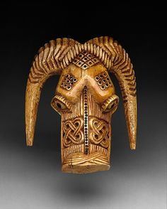Africa | Masquerade Element: Ram Head (Omama) | 17th–19th century | Nigeria Culture: Yoruba peoples, Owo group | Medium: Ivory, wood or coconut shell inlay
