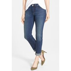 NYDJ 'Sylvia' Stretch Boyfriend Jeans (Oak Hill) (Petite) ($50) ❤ liked on Polyvore featuring jeans, oak hill, petite, nydj boyfriend jeans, relaxed fit boyfriend jeans, nydj jeans, frayed jeans and faded jeans