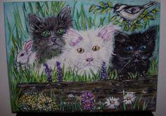 """Acrylic's on Canvas """"3 Little Kittens """""""