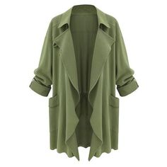 Moss Green Draped Cardigan Lookbook Store found on Polyvore featuring tops, cardigans, jackets, outerwear, green, drape cardigan, drape top, drapey top, green cardigan and green top