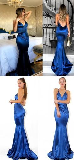 2018 Royal Blue Sexy Long Prom Dress, Simple Spaghetti Straps Popular Prom Dresses, Newest Evening Prom Dresses, PD0298