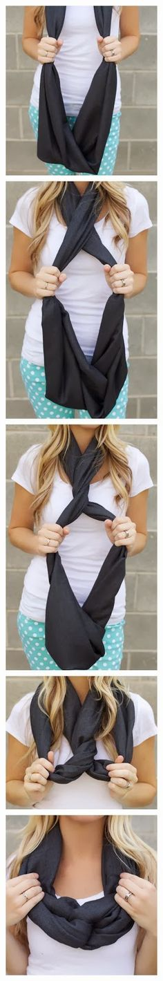, infinity scarfs and scarf knots. How To Wear An Infinity Scarf - A Free Guide To Infinity Scarf Style . Different ways to tie a scarf. Look Fashion, Fashion Beauty, Autumn Fashion, Womens Fashion, Fashion Tips, Feminine Fashion, Vogue Fashion, Trendy Fashion, Runway Fashion