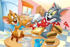 Tom und Jerry beim Lunch Disney Cartoon Characters, Disney Cartoons, Desenho Tom E Jerry, Tom And Gerry, Tom Und Jerry Cartoon, Caricature, Tom And Jerry Pictures, Tom And Jerry Wallpapers, Tumblr Cartoon
