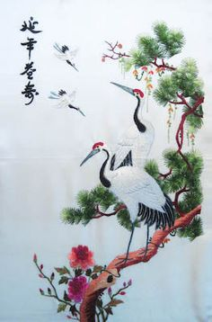 Vintage 20th C Chinese Embroidery on Silk Textile Cranes Trees 1960'S   eBay