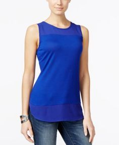 INC International Concepts Mixed-Media Tank Top, Only at Macy's