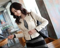 Elegant tweed cropped jacket will pull any outfit together - can even dress up jeans and a t-shirt