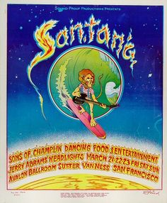Santana Poster - Rock posters, concert posters, and vintage posters from the Fillmore, Fillmore East, Winterland, Grande Ballroom, Armadillo World Headquarters, The Ark, The Bank, Kaleidoscope Club, Shrine Auditorium and Avalon Ballroom.