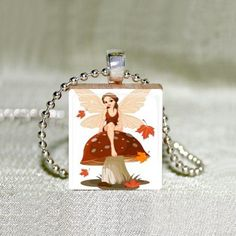Scrabble Jewelry  Fairy on Mushroom 2  Art by MaDGreenCreations, $7.49