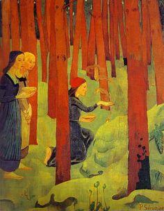 Paul Sérusier (1864-1927) L'Incantation ou Le Bois sacré, 1891 Huile sur toile, H. 91,5 x l. 72 Legs Henriette Boutaric, 1984 ; Quimper Musée des Beaux Arts