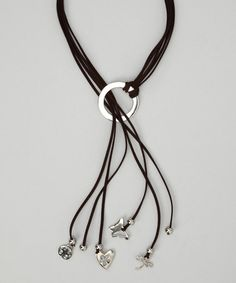 Take a look at this Farfan Jewelry Brown & Silver Suede Charm Necklace by Calinana, Bee Charming & Farfan Jewelry on #zulily today!