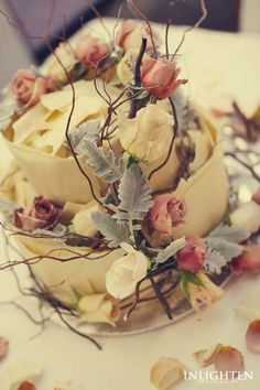 Sergeants Mess -  White rose, twig and leafy vintage detailed floral cake decoration.