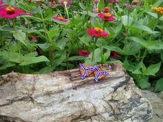 Pendientes de forma Triangular en colores azules y naranjas