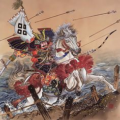 """Sasaki Takatsuna"" 佐々木高纲, (1160 - December 8, 1214) Was a commander in the Genpei War, the great conflict between the Minamoto and Taira Clans"