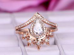 Pear Moissanite Engagement Ring Sets Tiara Wedding Band14K Rose Gold 6x8mm - 5 / 14K Yellow Gold
