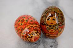 Vintage Ukrainian Wood Hand Painted Eggs Set by PursuingVintage1