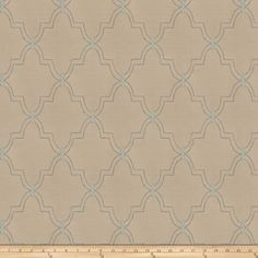 Faux Dupioni Silk Embroidered Gila Aqua Haze from @fabricdotcom  This lightweight faux dupioni silk fabric has a full-bodied drape and slub texture with a sophisticated matte sheen and embroidered design. It is perfect for home decor accents, draperies, swags, pillows and duvet covers. Colors include aqua and warn silver.