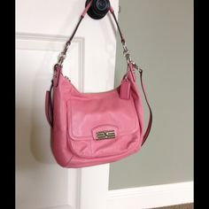 Coach hobo This is a true bubble gum pink color. It may have been used once, but I don't even remember using it once. It's the very versatile hobo style. No trades Coach Bags Shoulder Bags