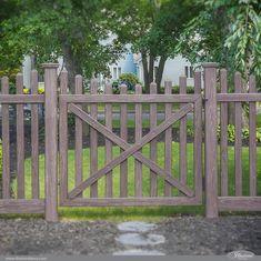 Beautiful PVC Vinyl Wood Grain Fence Gates from Illusions Vinyl Fence Lattice Fence Panels, Vinyl Fence Panels, Vinyl Privacy Fence, Wood Vinyl, Pvc Vinyl, Types Of Fences, White Picket Fence, Illusions, Modern Design