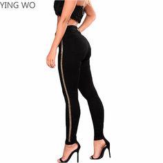 3763fc78ec4dc Find More Jeans Information about Plus Size Woman Fashion High Waist Black  Pencil Pants Gold Striped