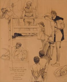 Norman Rockwell (1894-1978)  The Roadblock (preliminary drawing)  24 X 19 in.  pencil and charcoal on paper