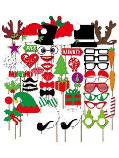 28X Christmas Photo Booth Props Funny Face Xmas Party Picture NewYear Selfie Fun