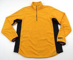 Vintage Nike Fit Fleece 1/2 Zip Pullover Mens Medium M Yellow Black Orange Check #Nike #FleeceJacket