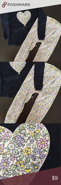 Babygap Navy Heart Long Sleeve Pajama Size 2 Years GUC Long Sleeve top. Bottoms have elastic waist. GAP Pajamas Pajama Sets