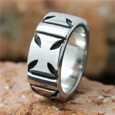 Band Iron Cross Biker Ring in 316L steel 9mm, 0.35 in, weigh 16g