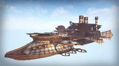 Steampunk airship  design concept art