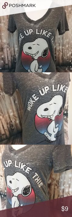 Peanuts Night Shirt Really soft night shirt with Snoopy. It says WOKE UP LIKE THIS Size Small Length 31 Width 32 59% cotton  45% polyester Inv # B37 Peanuts Intimates & Sleepwear Chemises & Slips
