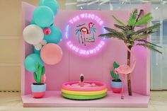- Best ideas for decoration and makeup - Display Design, Store Design, Photo Zone, Exhibition Booth Design, Party Decoration, Flamingo Party, Tropical Party, Retail Design, Event Decor