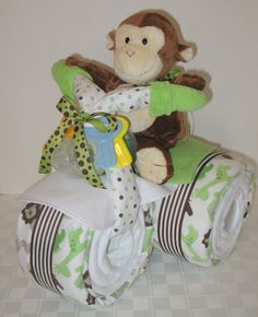 Motorcycle Bike Diaper Cake Baby Shower Gift by arizonababycakes