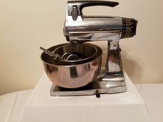 Vintage Sunbeam Mixmaster Stainless Steel 2 Bowls Works