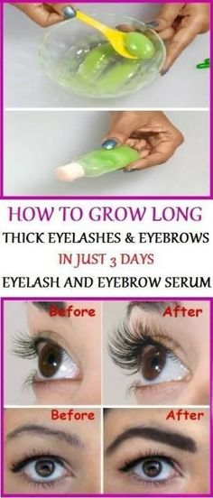 In one bowl, add 1 tsp aloe vera gel, 2 tsp castor oil & 2 Vitamin E capsules. Mix the ingredients. Apply the serum to your lashes & eyebrows. Apply it before going to bed and then in the next morning wash it off with water. by kristy #scalpdetoxcleanses