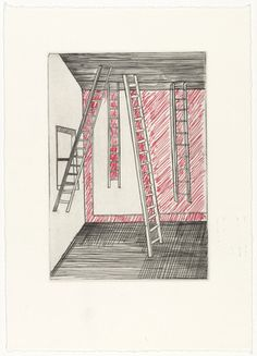 Louise Bourgeois. Untitled, plate 8, fifth version, state II, variant, from He Disappeared into Complete Silence. 1997